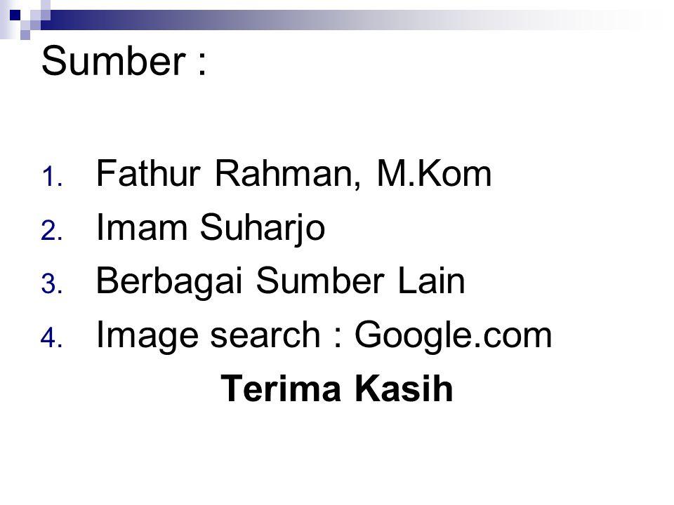 Sumber : Fathur Rahman, M.Kom Imam Suharjo Berbagai Sumber Lain