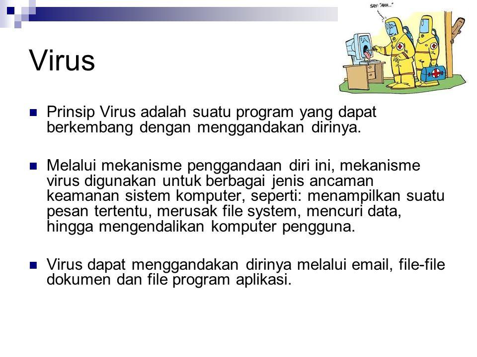 Virus Prinsip Virus adalah suatu program yang dapat berkembang dengan menggandakan dirinya.