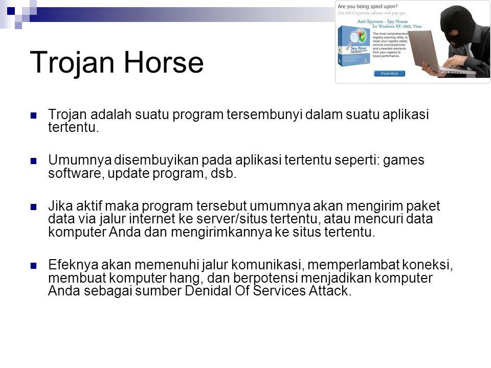 Trojan Horse Trojan adalah suatu program tersembunyi dalam suatu aplikasi tertentu.
