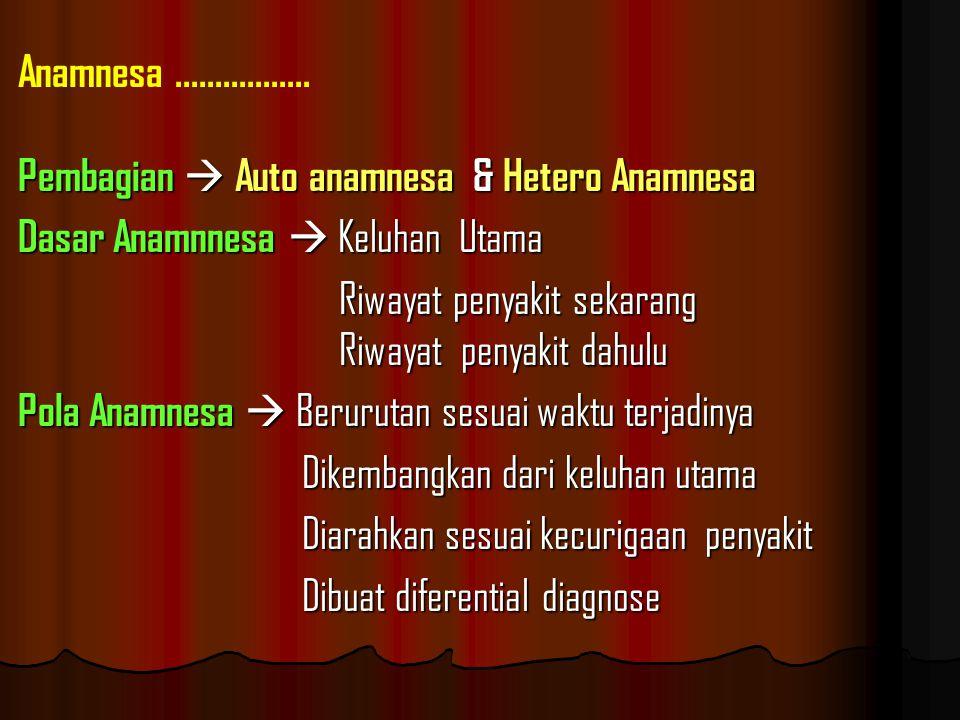 Anamnesa ................. Pembagian  Auto anamnesa & Hetero Anamnesa. Dasar Anamnnesa  Keluhan Utama.
