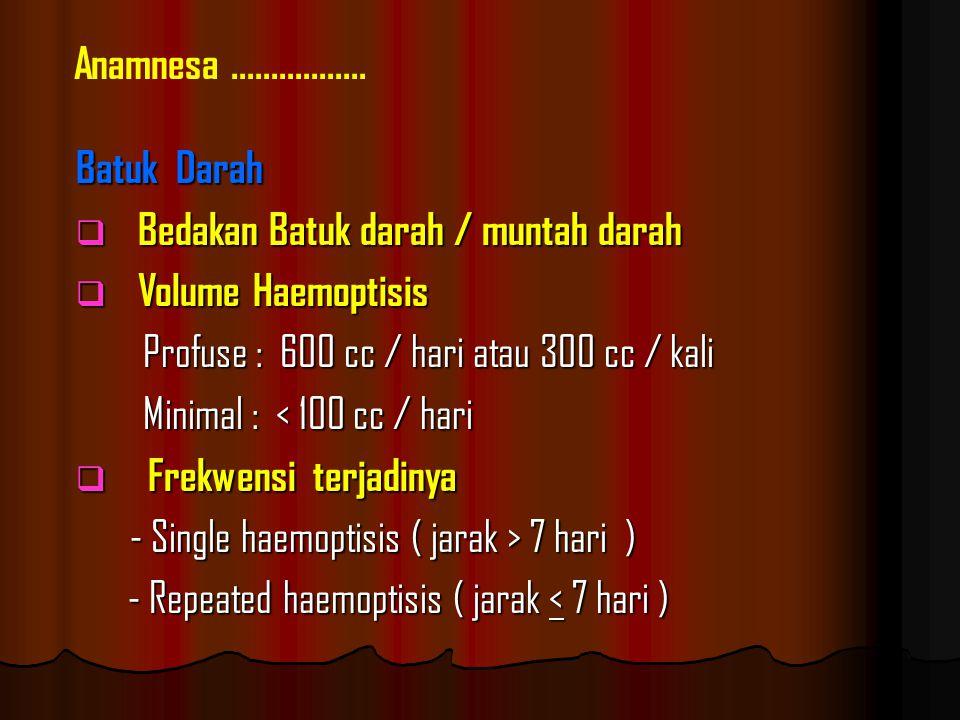 Anamnesa ................. Batuk Darah. Bedakan Batuk darah / muntah darah. Volume Haemoptisis. Profuse : 600 cc / hari atau 300 cc / kali.
