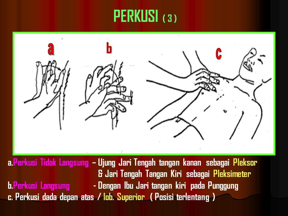 PERKUSI ( 3 ) b. a. c. a.Perkusi Tidak Langsung – Ujung Jari Tengah tangan kanan sebagai Pleksor.