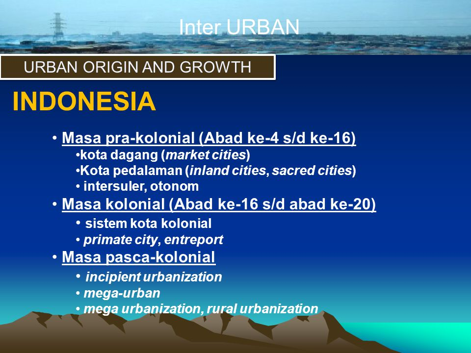 URBAN ORIGIN AND GROWTH
