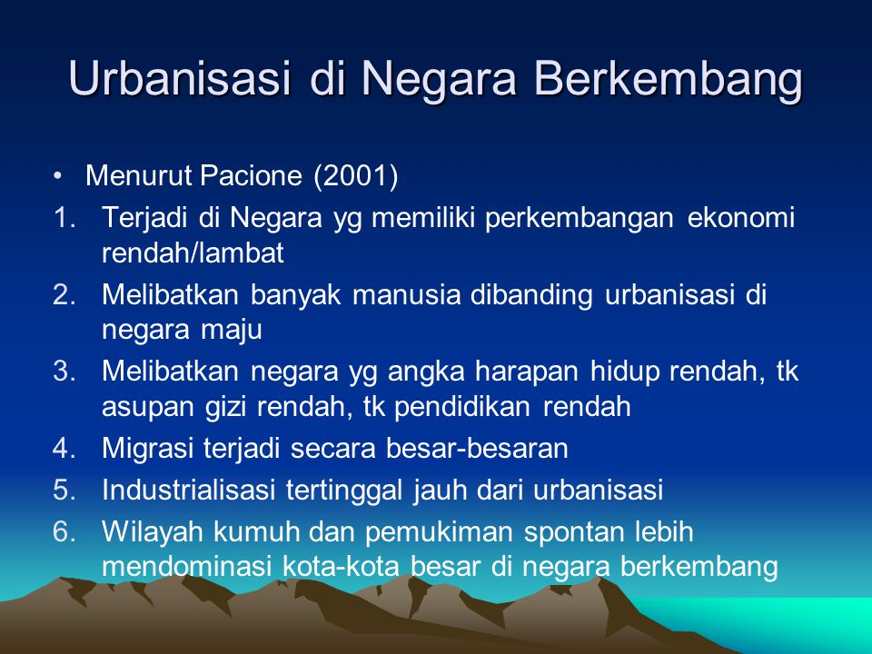 Urbanisasi di Negara Berkembang