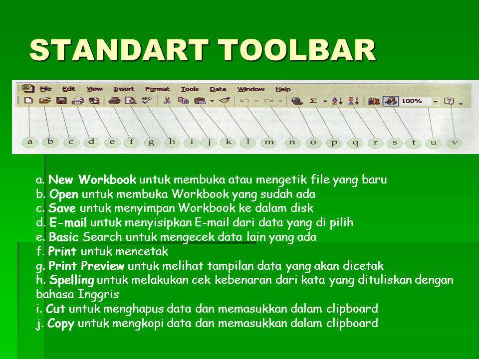 STANDART TOOLBAR a. New Workbook untuk membuka atau mengetik file yang baru. b. Open untuk membuka Workbook yang sudah ada.