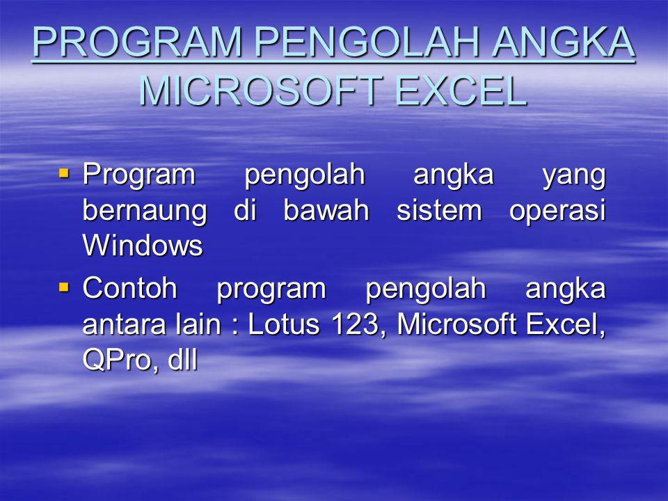 PROGRAM PENGOLAH ANGKA MICROSOFT EXCEL