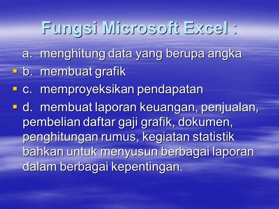 Fungsi Microsoft Excel :
