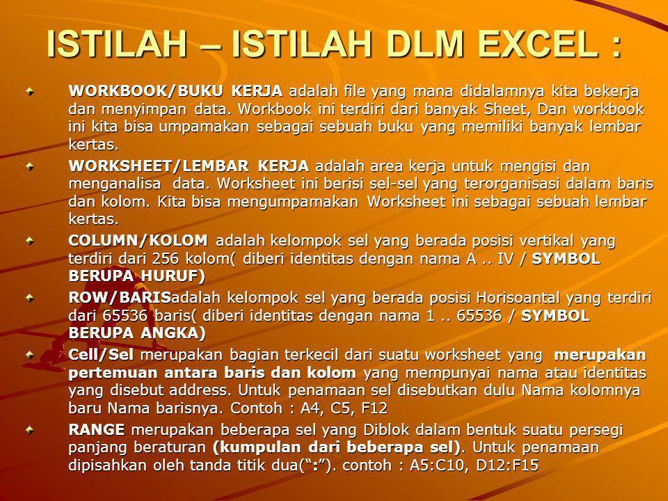 ISTILAH – ISTILAH DLM EXCEL :
