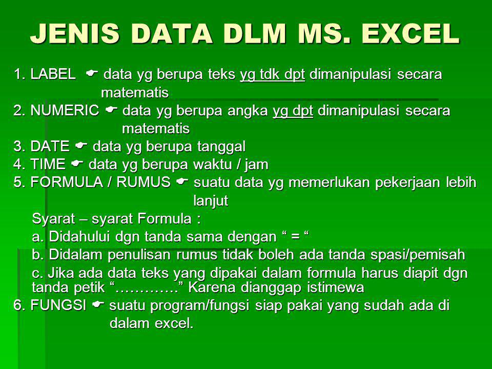 JENIS DATA DLM MS. EXCEL 1. LABEL  data yg berupa teks yg tdk dpt dimanipulasi secara. matematis.