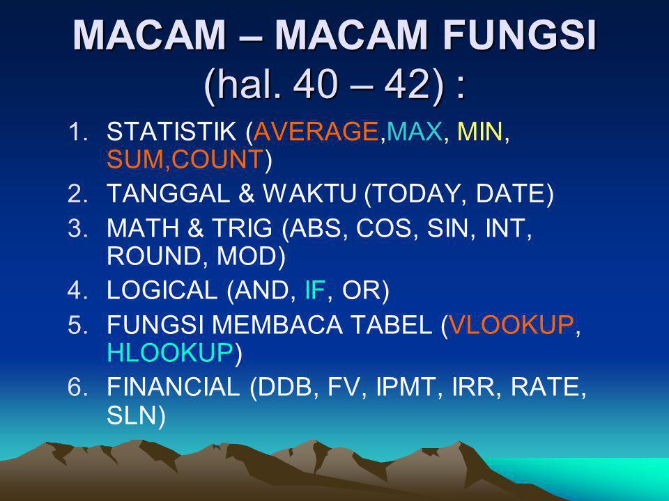 MACAM – MACAM FUNGSI (hal. 40 – 42) :
