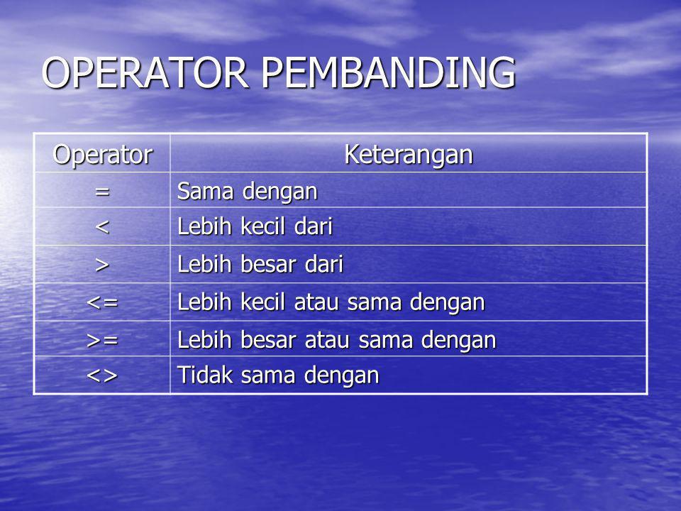 OPERATOR PEMBANDING Operator Keterangan = Sama dengan <