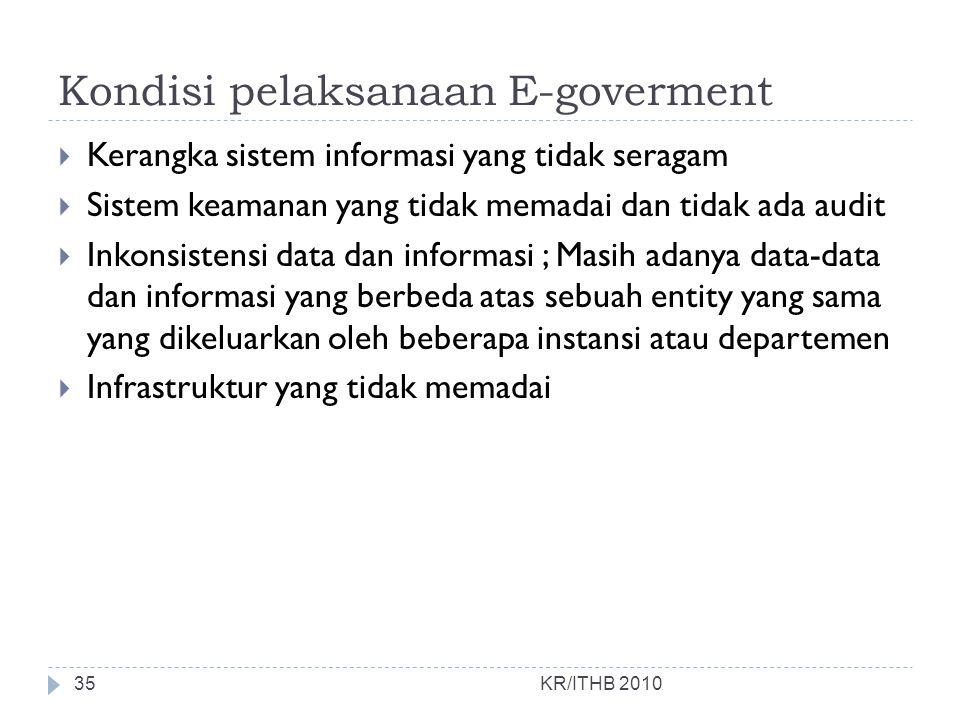 Kondisi pelaksanaan E-goverment