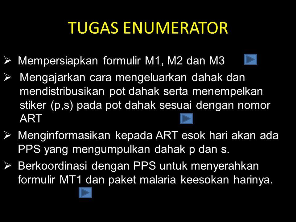 TUGAS ENUMERATOR Mempersiapkan formulir M1, M2 dan M3