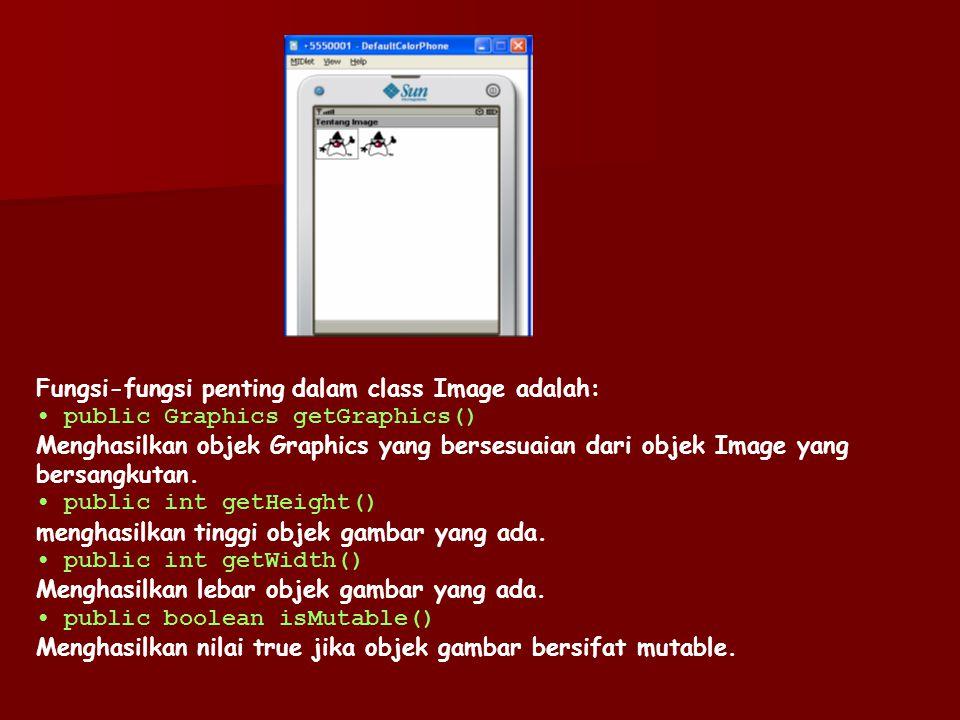 Fungsi-fungsi penting dalam class Image adalah:
