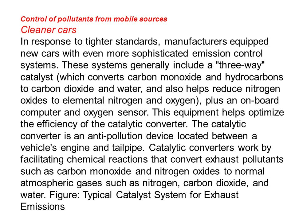 Control of pollutants from mobile sources
