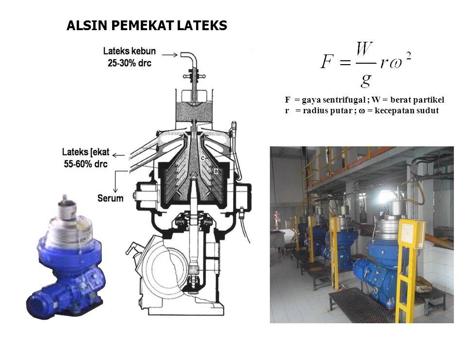 ALSIN PEMEKAT LATEKS F = gaya sentrifugal ; W = berat partikel