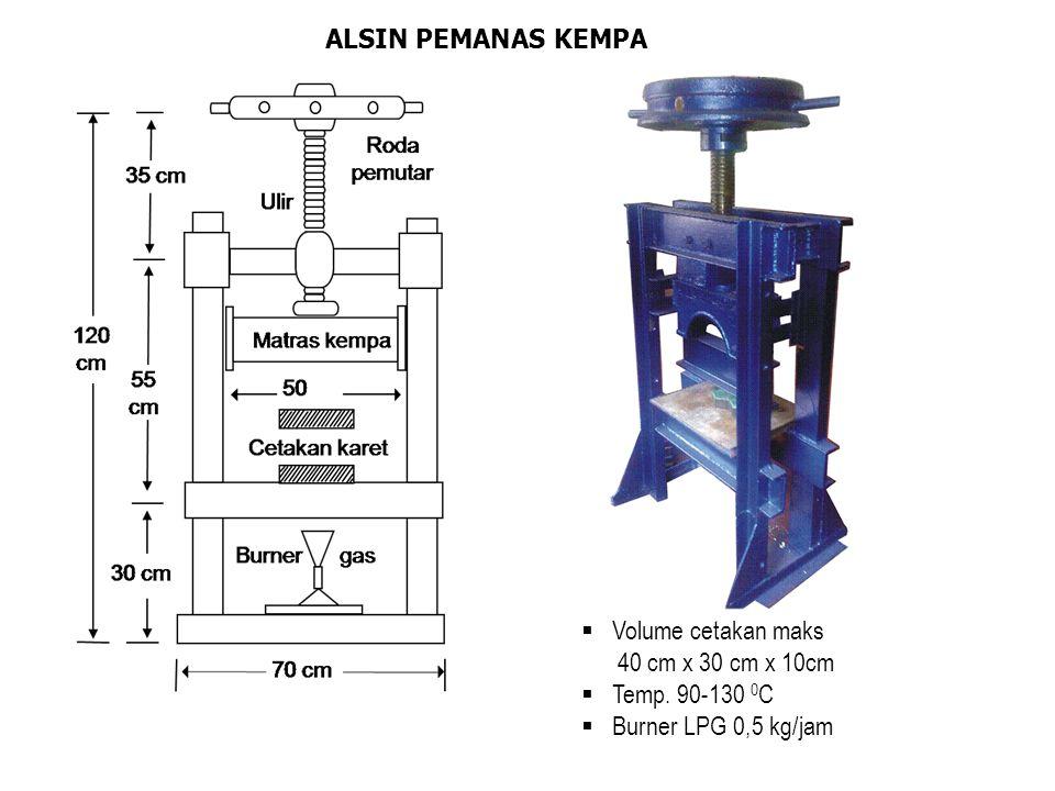 ALSIN PEMANAS KEMPA Volume cetakan maks 40 cm x 30 cm x 10cm Temp. 90-130 0C Burner LPG 0,5 kg/jam