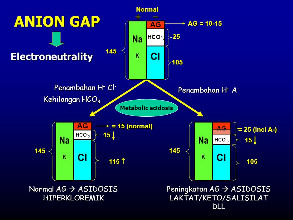 ANION GAP   Na Cl Electroneutrality Na Cl Na Cl AG Penambahan H+ Cl-