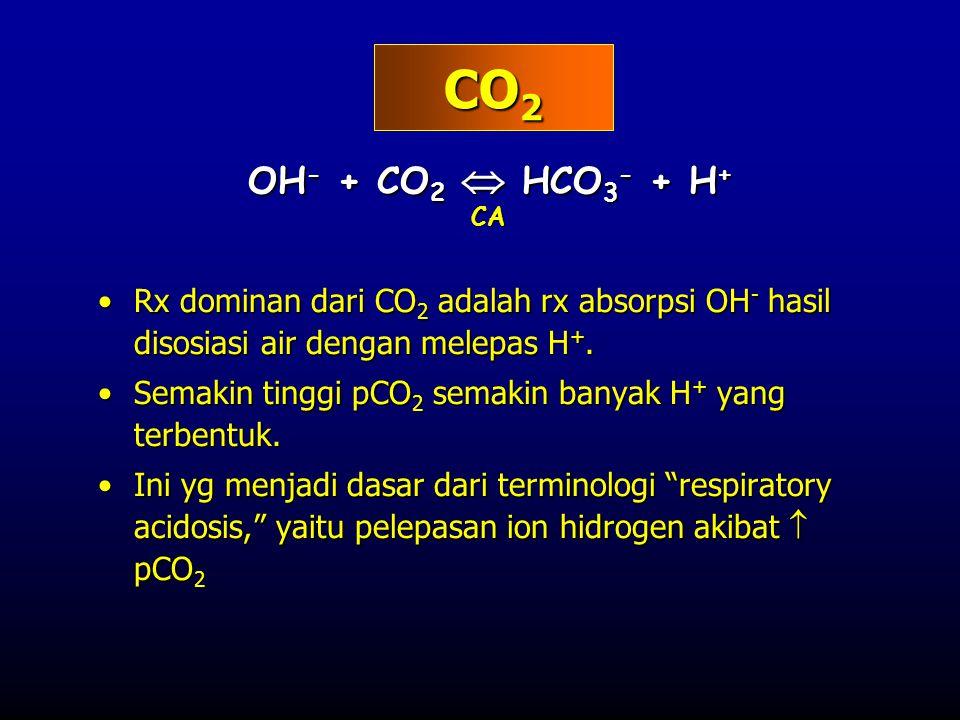 CO2 OH- + CO2  HCO3- + H+ CA. Rx dominan dari CO2 adalah rx absorpsi OH- hasil disosiasi air dengan melepas H+.