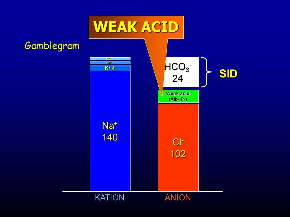 WEAK ACID SID Gamblegram HCO3- 24 Na+ 140 Cl- 102 KATION ANION K+ 4