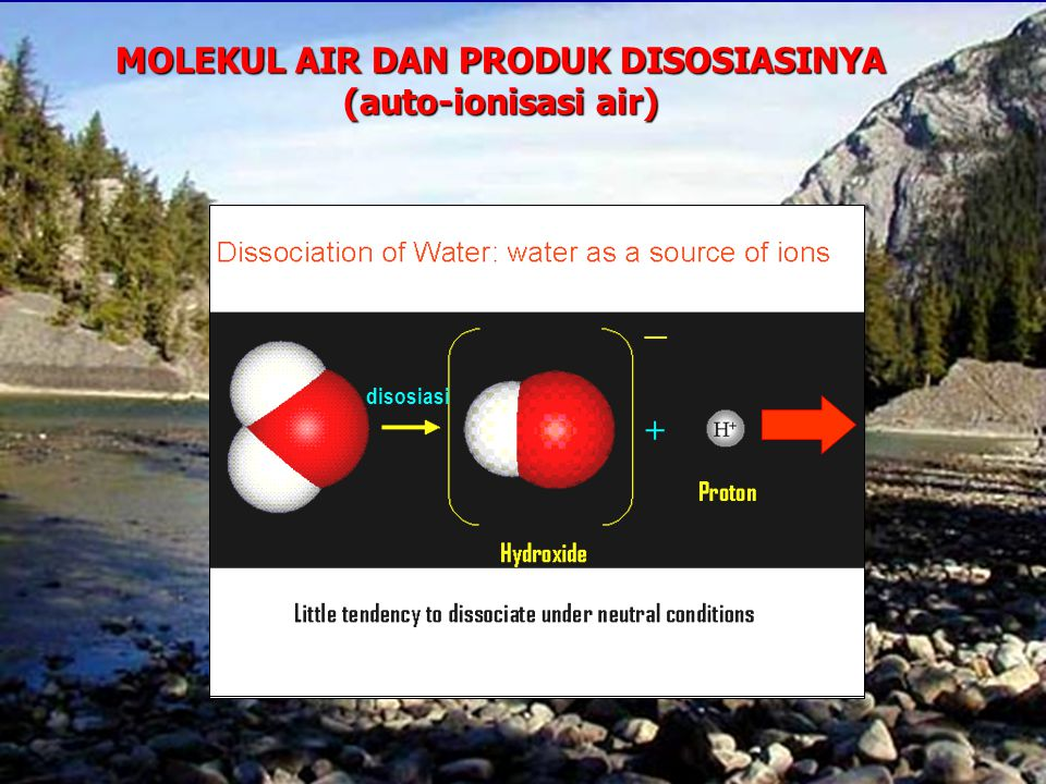 MOLEKUL AIR DAN PRODUK DISOSIASINYA (auto-ionisasi air)