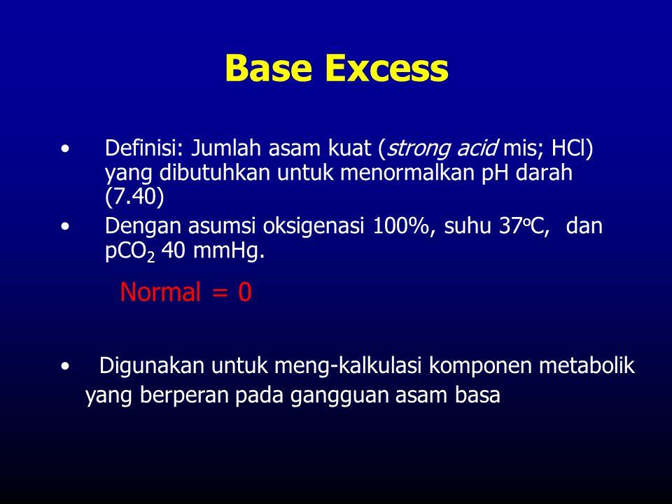 Base Excess Definisi: Jumlah asam kuat (strong acid mis; HCl) yang dibutuhkan untuk menormalkan pH darah (7.40)