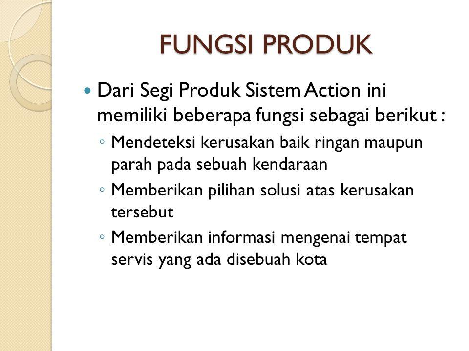FUNGSI PRODUK Dari Segi Produk Sistem Action ini memiliki beberapa fungsi sebagai berikut :