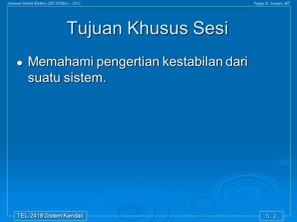 Tujuan Khusus Sesi Memahami pengertian kestabilan dari suatu sistem.
