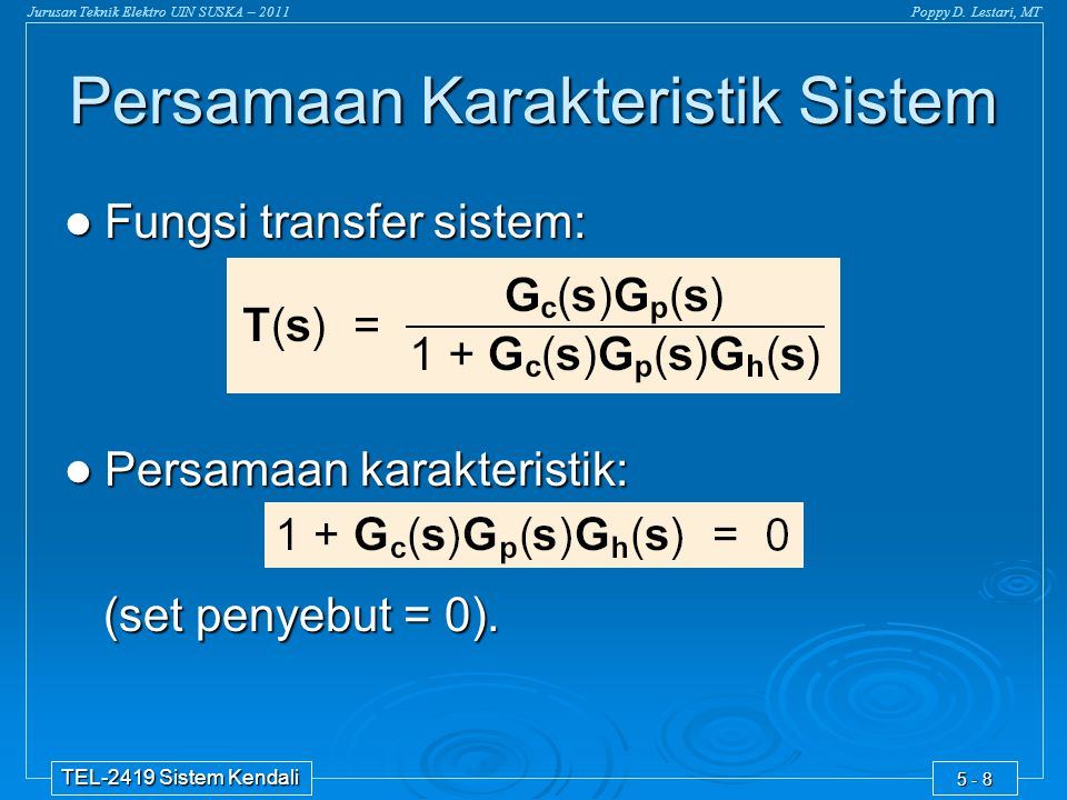 Persamaan Karakteristik Sistem