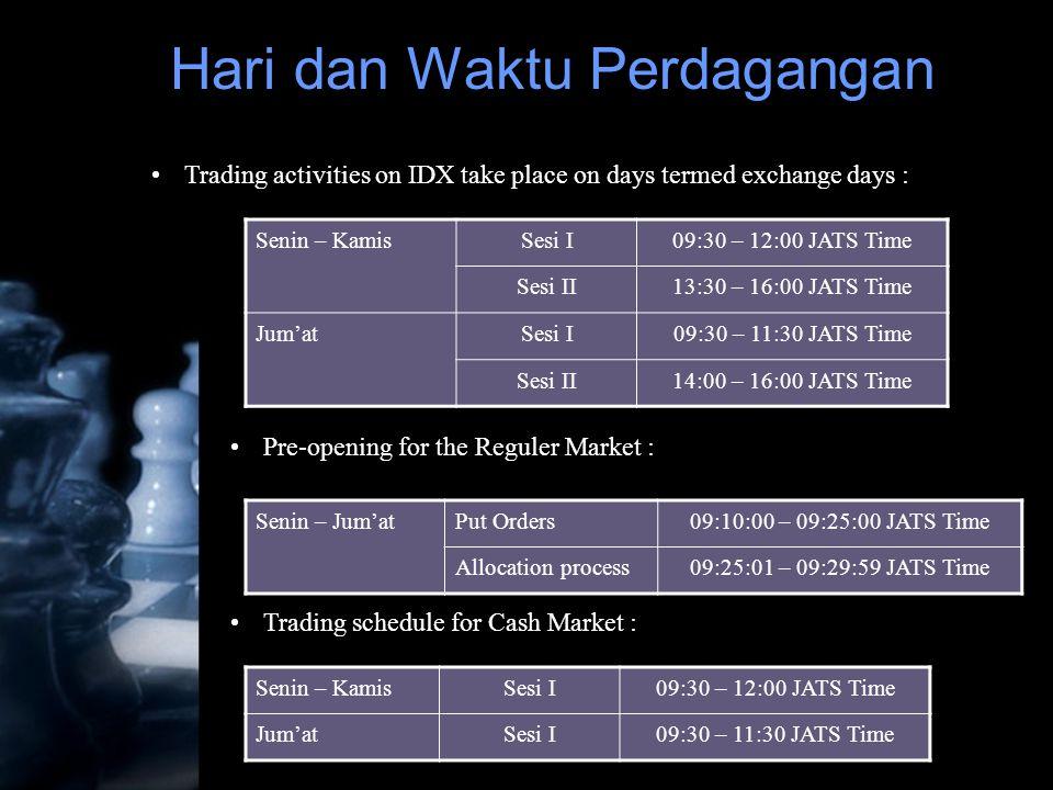 Hari dan Waktu Perdagangan