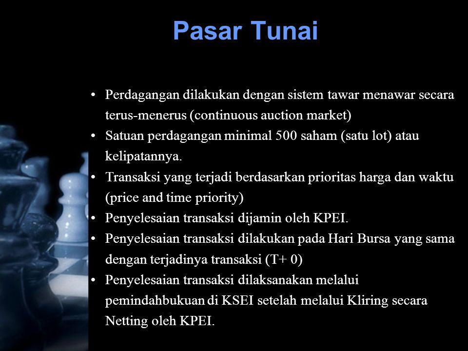 Pasar Tunai Perdagangan dilakukan dengan sistem tawar menawar secara terus-menerus (continuous auction market)