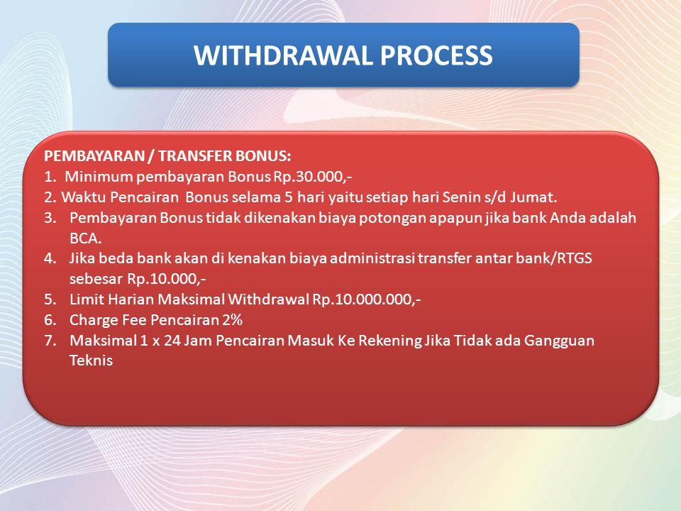 WITHDRAWAL PROCESS PEMBAYARAN / TRANSFER BONUS: