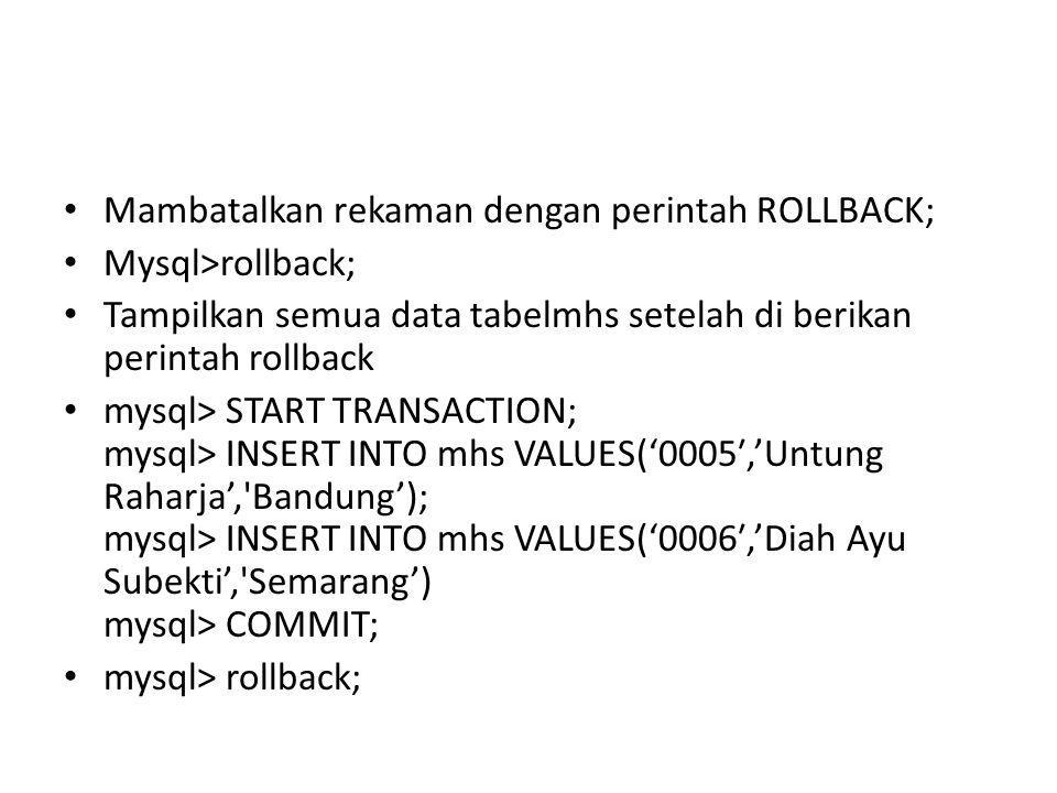 Mambatalkan rekaman dengan perintah ROLLBACK;