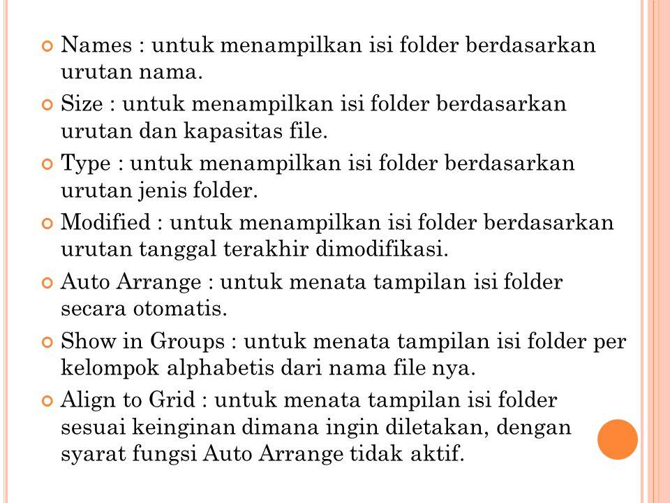 Names : untuk menampilkan isi folder berdasarkan urutan nama.