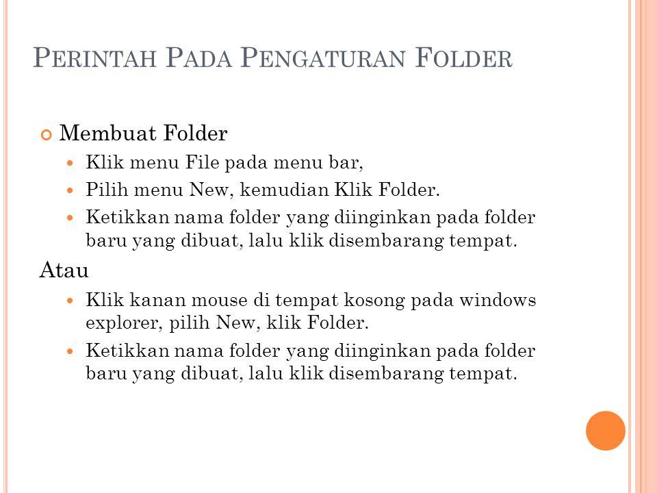 Perintah Pada Pengaturan Folder