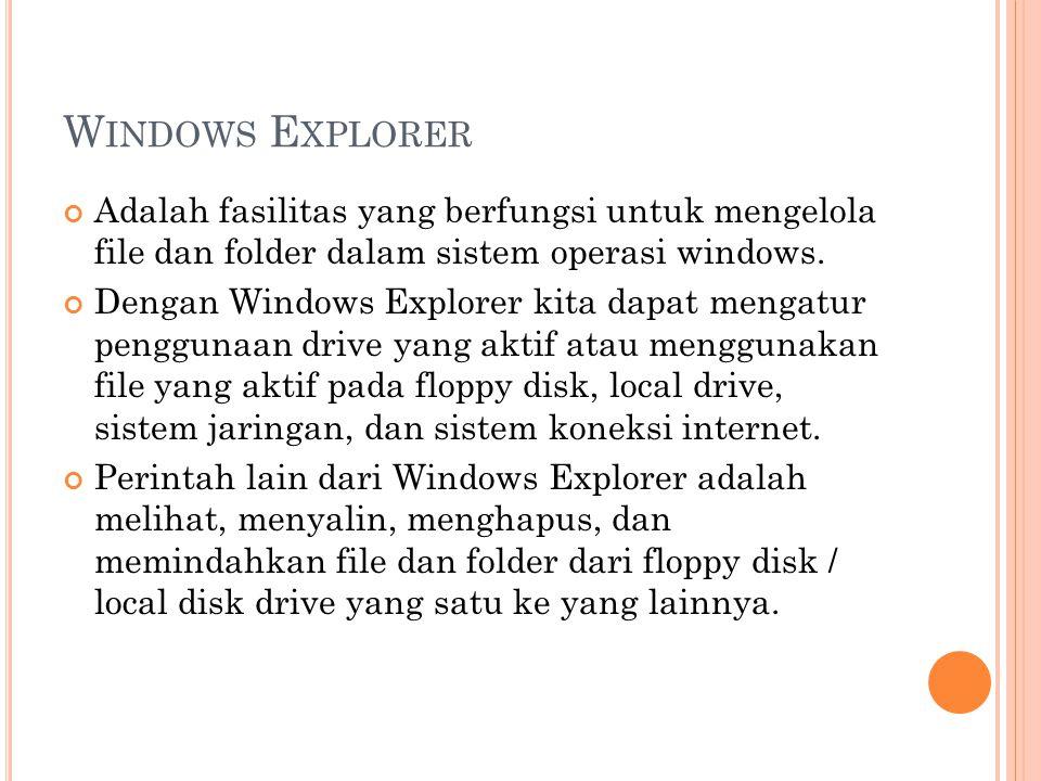 Windows Explorer Adalah fasilitas yang berfungsi untuk mengelola file dan folder dalam sistem operasi windows.