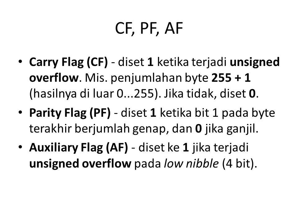 CF, PF, AF Carry Flag (CF) - diset 1 ketika terjadi unsigned overflow. Mis. penjumlahan byte 255 + 1 (hasilnya di luar 0...255). Jika tidak, diset 0.