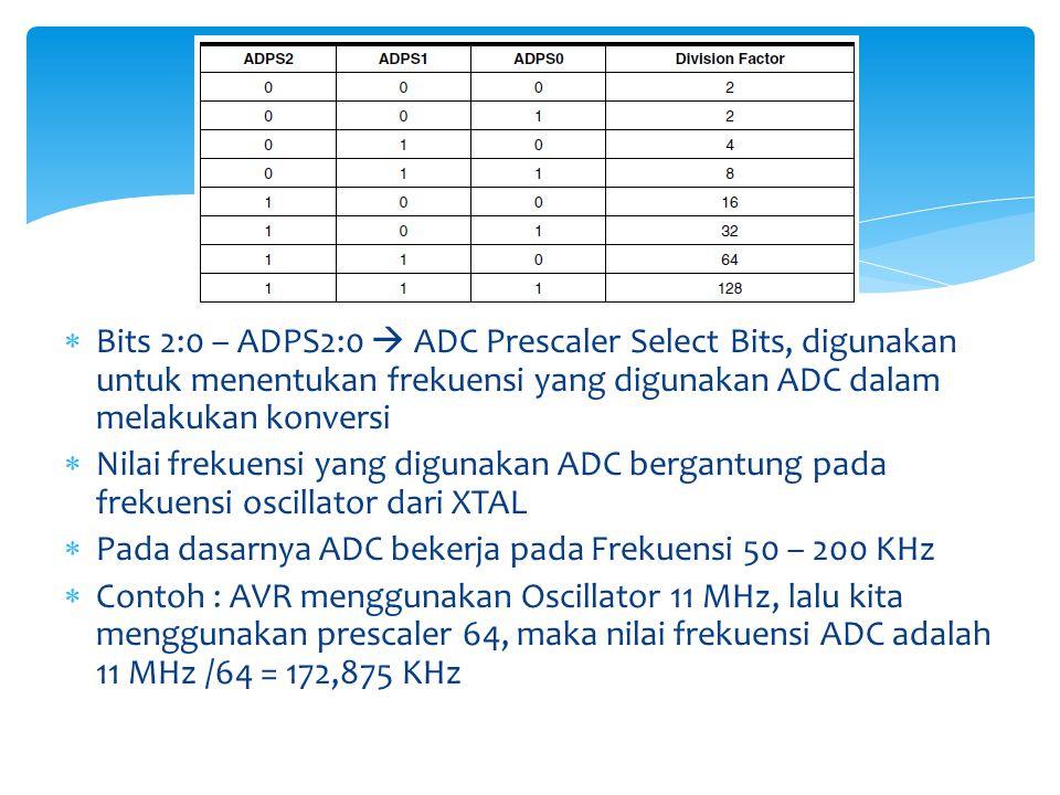 Bits 2:0 – ADPS2:0  ADC Prescaler Select Bits, digunakan untuk menentukan frekuensi yang digunakan ADC dalam melakukan konversi