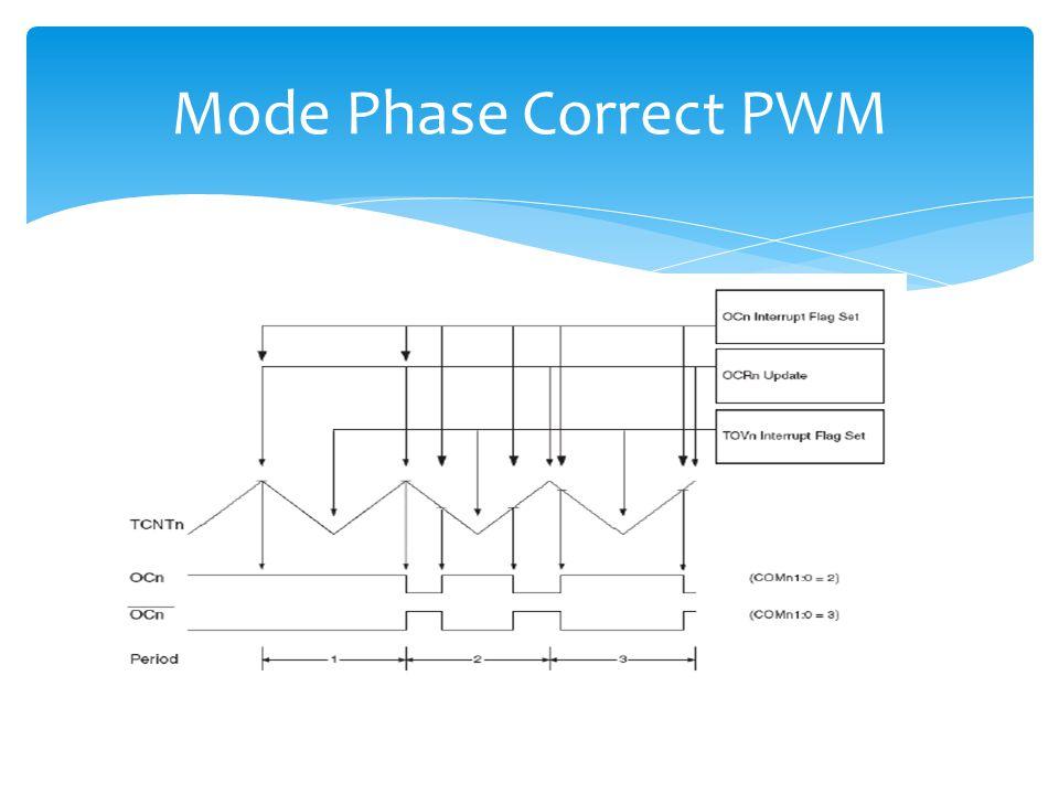 Mode Phase Correct PWM PWM yang membangkitkan gelombang dengan resolusi tinggi phase corret. Pada mode ini menggunakan operasi dual slope.