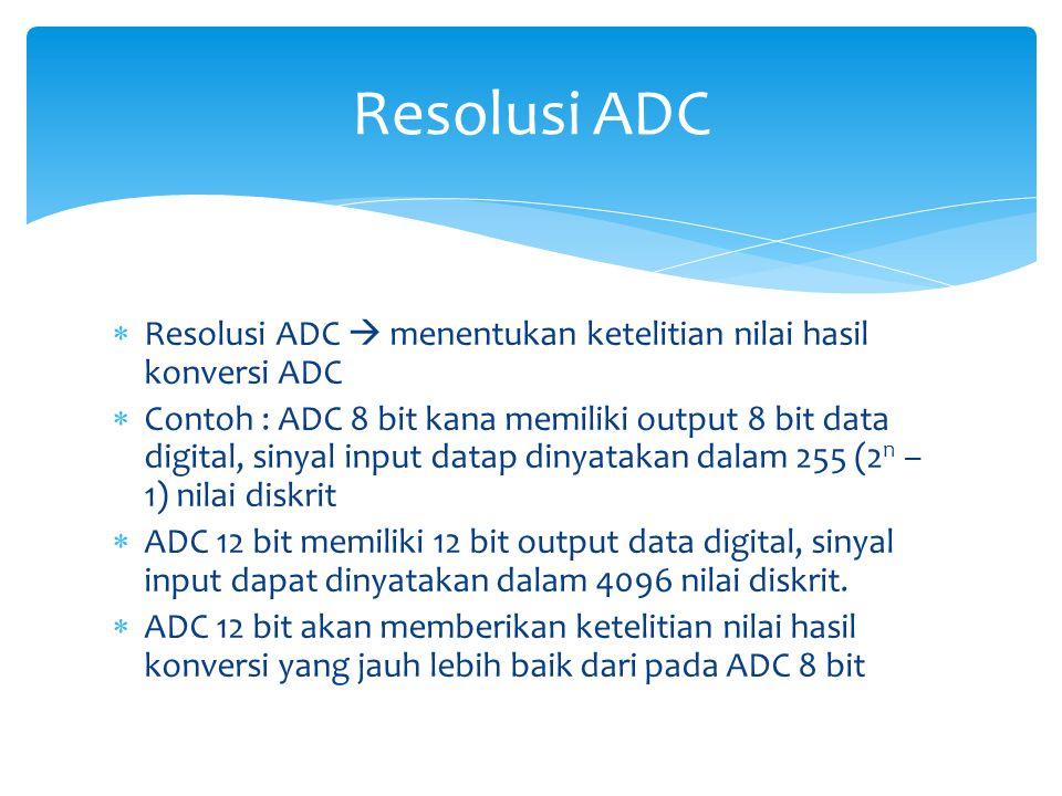 Resolusi ADC Resolusi ADC  menentukan ketelitian nilai hasil konversi ADC.
