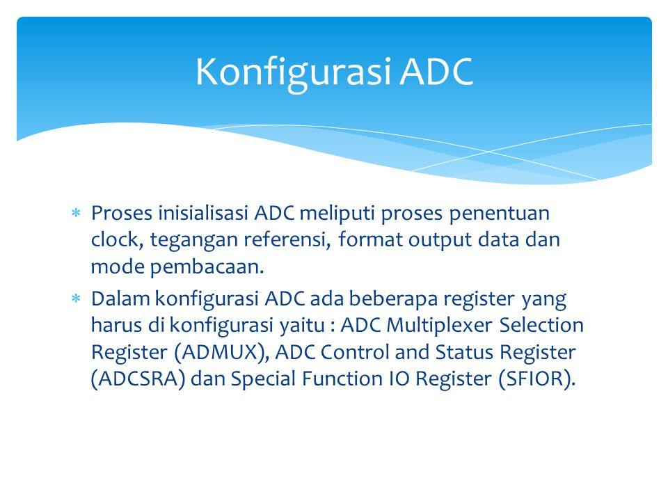 Konfigurasi ADC Proses inisialisasi ADC meliputi proses penentuan clock, tegangan referensi, format output data dan mode pembacaan.