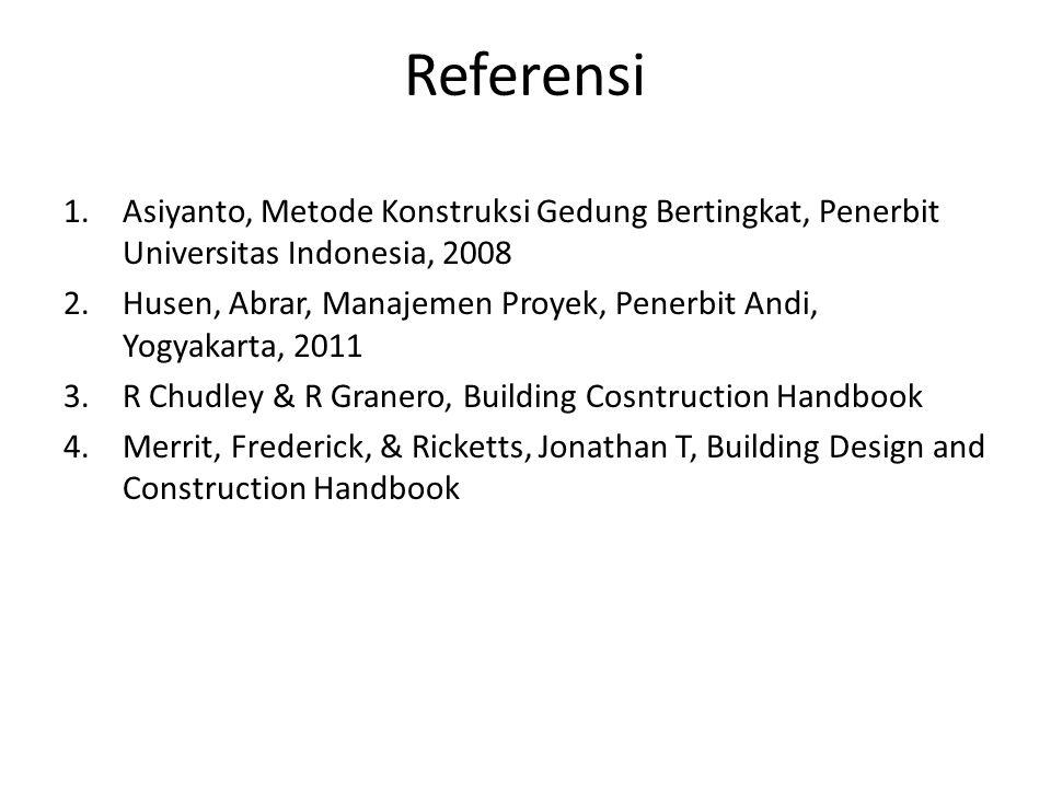 Referensi Asiyanto, Metode Konstruksi Gedung Bertingkat, Penerbit Universitas Indonesia, 2008.