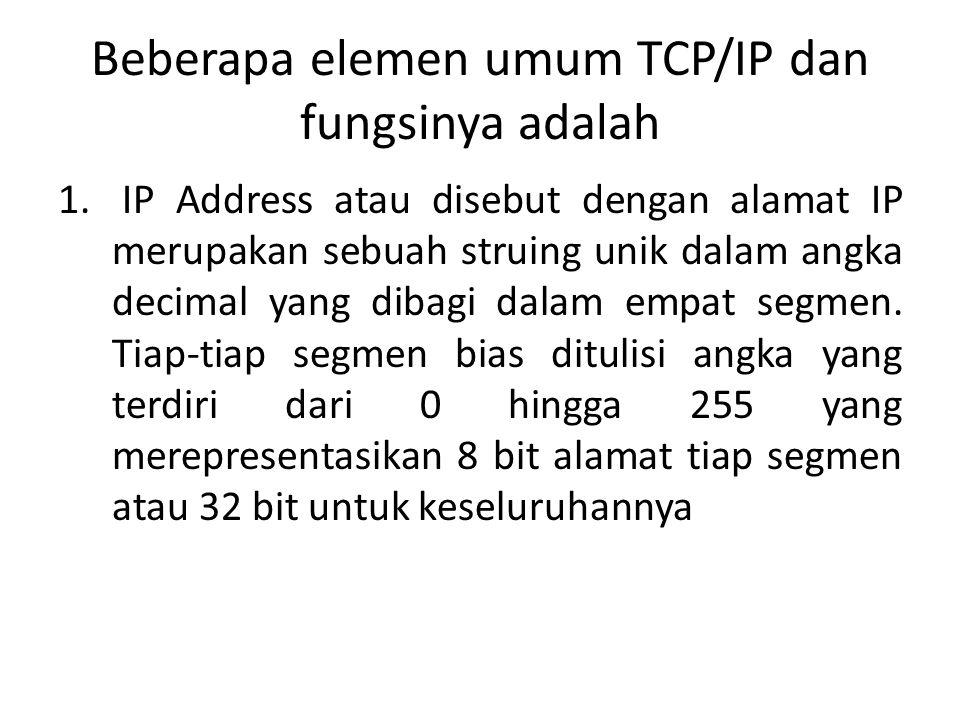 Beberapa elemen umum TCP/IP dan fungsinya adalah