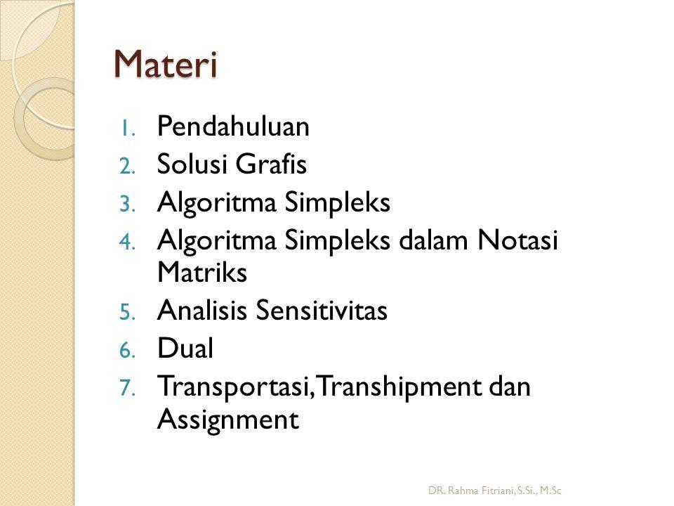 Materi Pendahuluan Solusi Grafis Algoritma Simpleks
