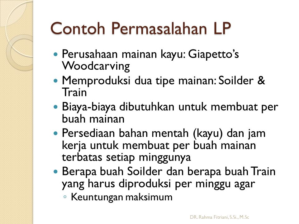 Contoh Permasalahan LP