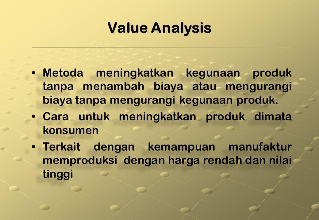 Value Analysis Metoda meningkatkan kegunaan produk tanpa menambah biaya atau mengurangi biaya tanpa mengurangi kegunaan produk.