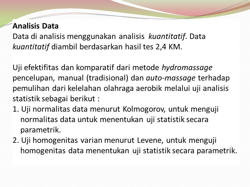 Analisis Data Data di analisis menggunakan analisis kuantitatif