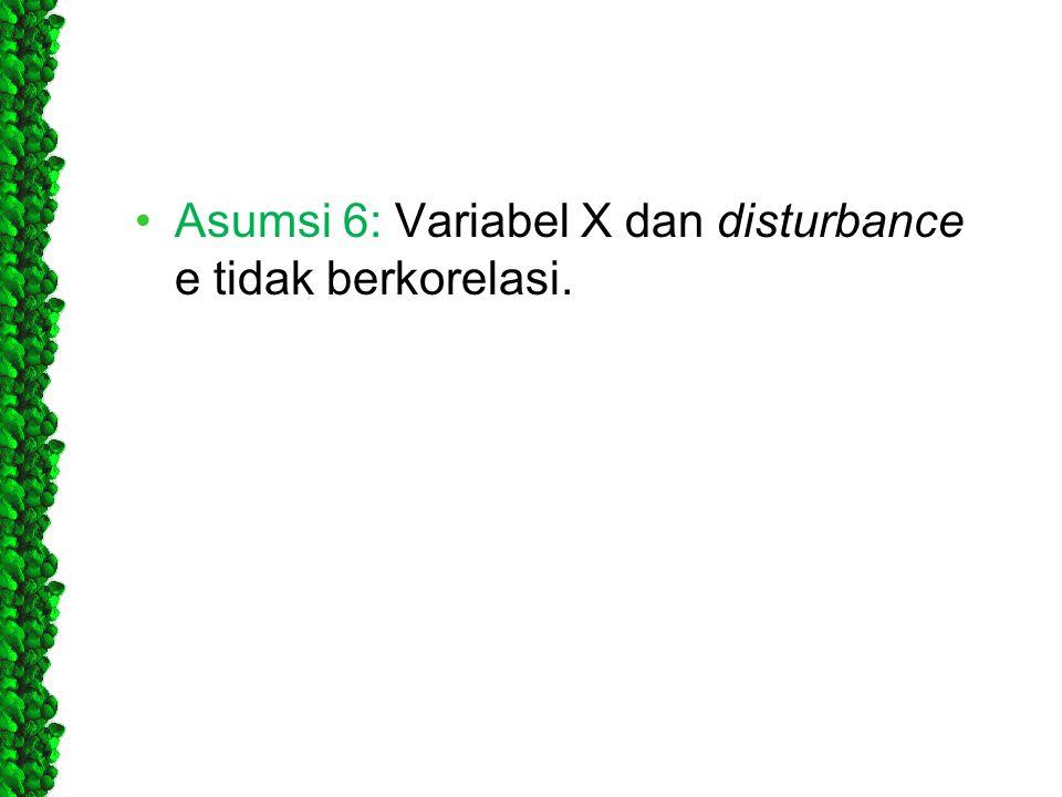 Asumsi 6: Variabel X dan disturbance e tidak berkorelasi.