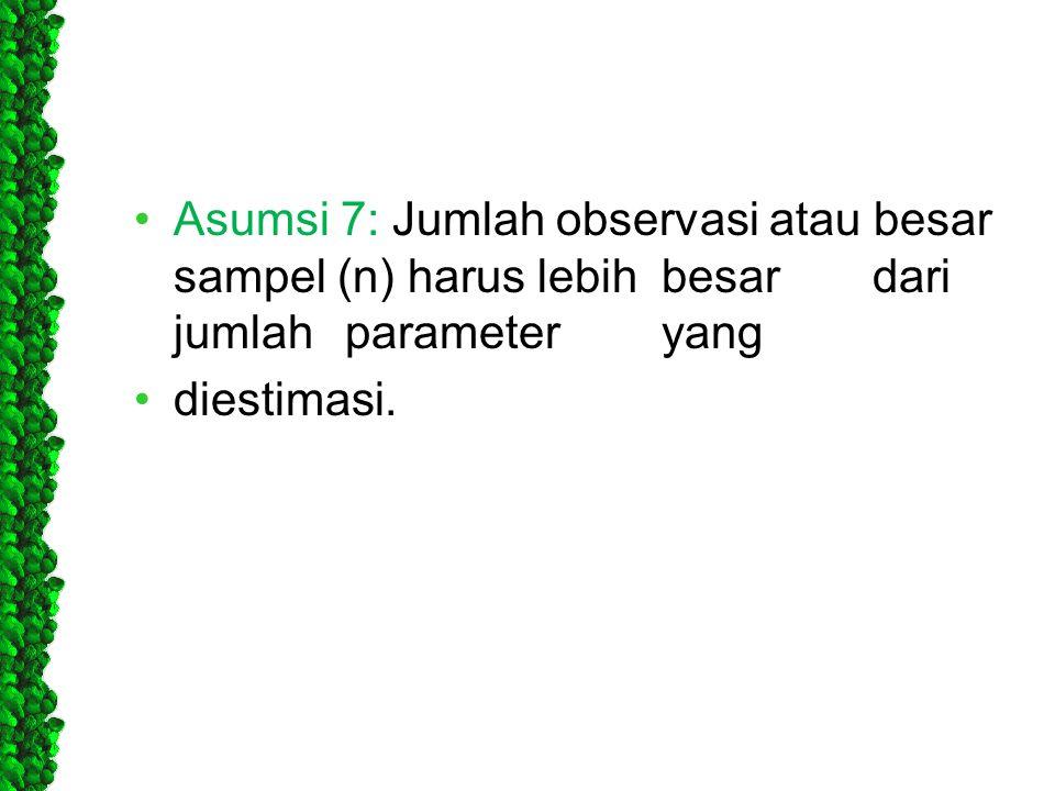 Asumsi 7: Jumlah observasi atau besar sampel (n) harus lebih. besar