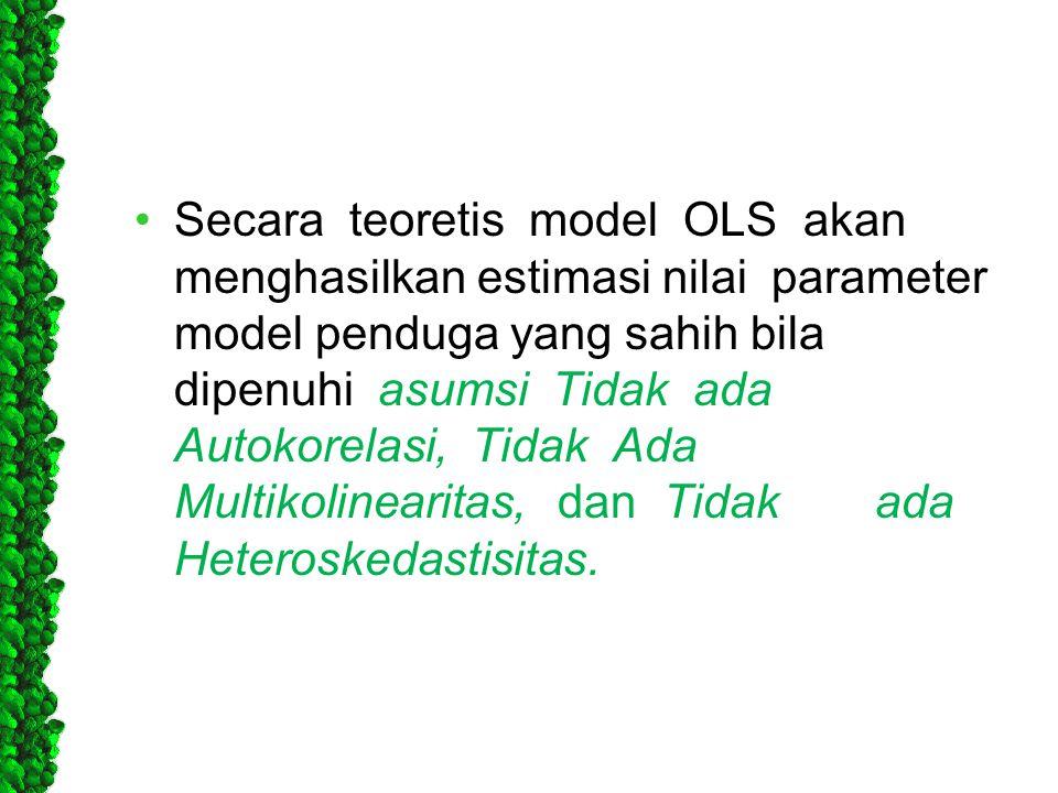 Secara teoretis model OLS akan menghasilkan estimasi nilai parameter model penduga yang sahih bila dipenuhi asumsi Tidak ada Autokorelasi, Tidak Ada Multikolinearitas, dan Tidak ada Heteroskedastisitas.